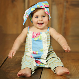Mustard Pie  Apple Blossom Stella 2pc Romper & Headband Set (**Now up to size 4T**)