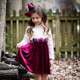 Evie's Closet Velvet & Lace Dress