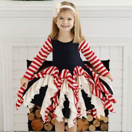Lemon Loves Lime Holiday Candy Cane Twirl Dress - Sky Captain
