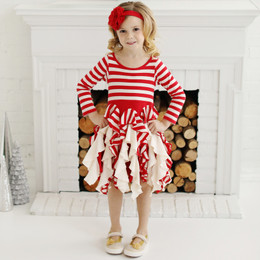 Lemon Loves Lime Holiday Candy Cane Twirl Dress- True Red