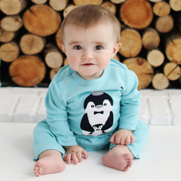Lemon Loves Lime Layette Penguin Romper