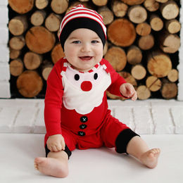 Lemon Loves Lime Holiday 2pc Santa Baby Romper & Hat Set