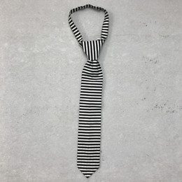 Mustard Pie English Blue Boy's Necktie - Black Stripe