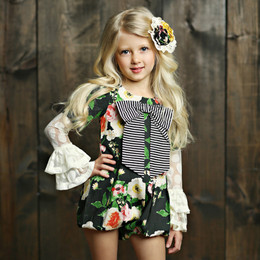 Mustard Pie English Blue Gillian Romper - Black Floral (*New Style!*)(*Top Sold Separately*)