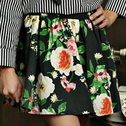 Mustard Pie English Blue Emerson Skirt - Black Floral