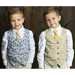 Mustard Pie English Blue Boy's Reversible Vest - Blue / Sand