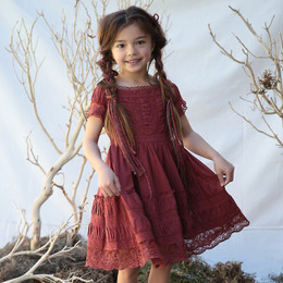 Blu Pony Vintage Simone Dress - Rustic Burgundy