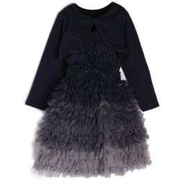 Isobella & Chloe Adora Belle 2pc Dress & Shrug Set - Navy