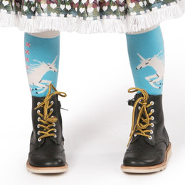Paper Wings Knee High Socks - Unicorns Blue