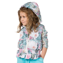 Paper Wings Frilled Hooded Puffer Vest - Hearts & Roses