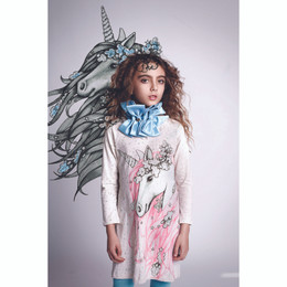 Paper Wings Frilled Shift Dress - Winter Unicorn