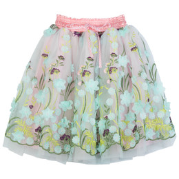 Paper Wings Embroidered Tulle Skirt - Flower Garden