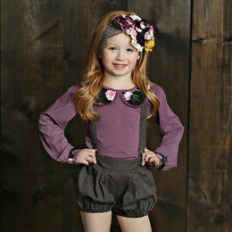 Mustard Pie Vintage Violet Beckett Bloomer with Suspender - Grey Stripe