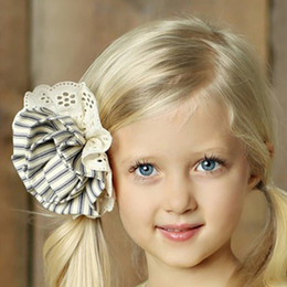 Little Prim Rose Clip - Ticking Stripe