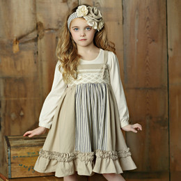 Little Prim Emmie Apron Dress - Ticking Stripe (*Top Sold Separately*)