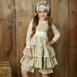 Little Prim Felicity Dress - Linen (*Lace Top Sold Separately*)
