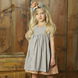 Little Prim Eva Apron - Ticking Stripe (*Floral Dress Sold Separately*)