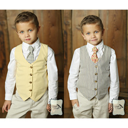 Little Prim Boy's Jasper Reversible Vest - Ticking Stripe / Butter