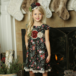 Mustard Pie Holiday Delphine Party Dress (*Sash Included!*) - Winter Floral