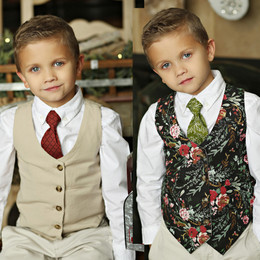 Mustard Pie Holiday Boy's Reversible Vest - Winter Floral / Bisque