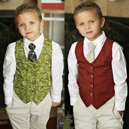 Mustard Pie Holiday Boy's Reversible Vest - Holly / Ruby
