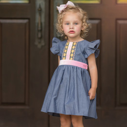 Evie's Closet Chambray & Velvet Trim Dress