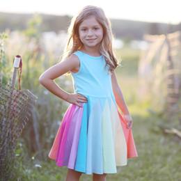 Lemon Loves Lime Rainbow Twirl Dress - Blue Radiance