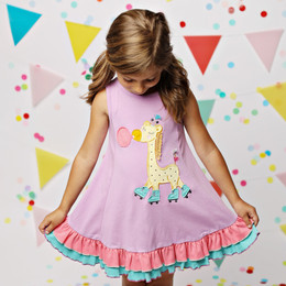 Lemon Loves Lime Giraffe Roller Blade Dress - Violet Tulle