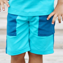 Lemon Loves Lime Gnu Brand Cargo Shorts - Blue Blues Patch