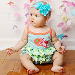 Lemon Loves Lime Layette My Fish Bubble Romper - Pastel Turquoise
