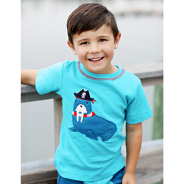 Lemon Loves Lime Gnu Brand Captain Walrus Tee - Scuba Blue
