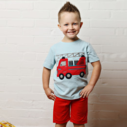 Lemon Loves Lime Gnu Brand Antique Fire Truck Tee - Sterling Blue