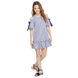 Habitual Girl Nancy Cold Shoulder Dress - Stripe