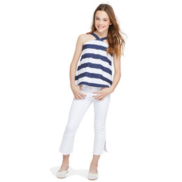 Habitual Girl June Flood Length Twill Pant - White