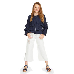 Habitual Girl Anya Destructed Wide Leg Pant - White