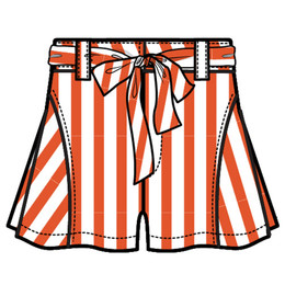 Habitual Girl Tegan Stripe Short - Orange