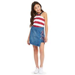 Habitual Girl Mercer Mock Lace-Up Denim Skirt - Med Stone