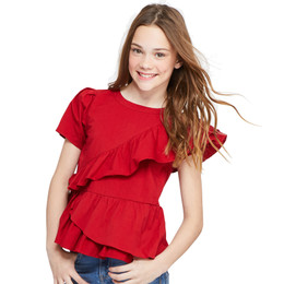 Habitual Girl Amber Asymetrical Pleated Top - Red