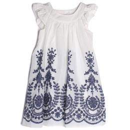 Isobella & Chloe Crystal Creek Embroidered Dress - Navy