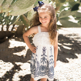 Isobella & Chloe Crystal Creek Embroidered Ruffle Dress - Navy