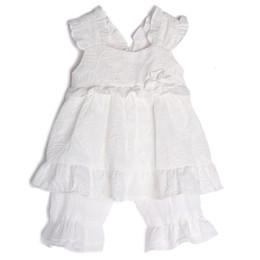 Isobella & Chloe Cotton Clouds 2pc Tunic & Bloomer Set - White