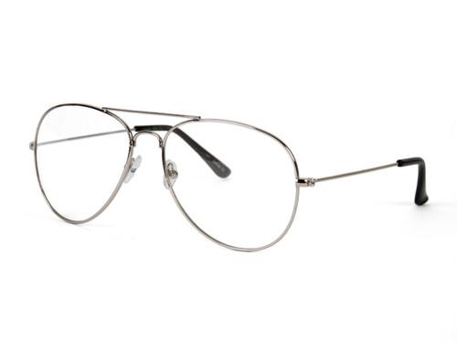 Gravity's Non-Prescription Premium Aviator Clear Lens Glasses w/ GT Microfiber