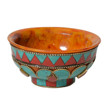 Bowl - Nepalese - resin with inlaid stones and white metal