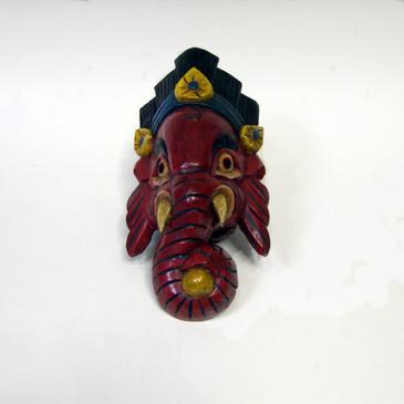 Wood Ganesha Mask - Red