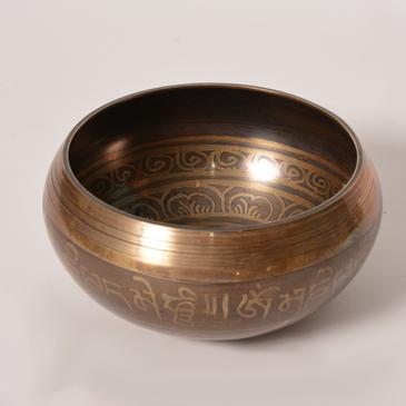Brown Singing Bowl - Etched