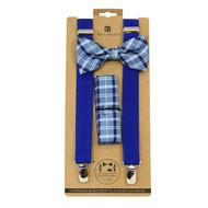 3pc Men's Blue Clip-on Suspenders, Plaid Bow Tie & Hanky Sets FYBTHSU-BL12