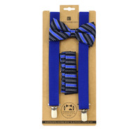 3pc Men's Blue Clip-on Suspenders, Double Striped Bow Tie & Hanky Sets FYBTHSU-BL25