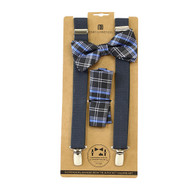 3pc Men's Charcoal Clip-on Suspenders, Plaid Bow Tie & Hanky Sets FYBTHSU-CHAR14