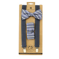 3pc Men's Charcoal Clip-on Suspenders, Striped Pattern Bow Tie & Hanky Sets FYBTHSU-CHAR15
