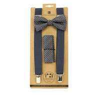 3pc Men's Charcoal Clip-on Suspenders, Diamond Pattern Bow Tie & Hanky Sets FYBTHSU-CHAR17